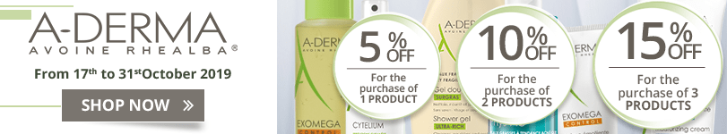 1 Aderma product purchased = 5% off. 2 Aderma products purchased = 10% off. 3 Aderma products purchased = 15% off