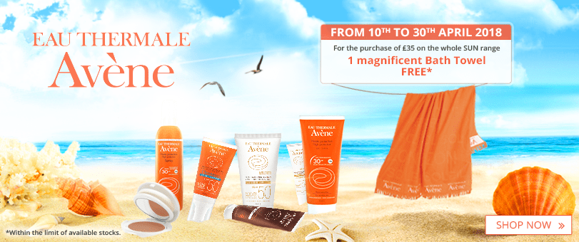 For the purchase of £35 of Avène Sun Care products = 1 FREE Avène Bath Towel