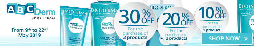 1 Bioderma ABCDerm product purchased = 10% off. 2 Bioderma ABCDerm products purchased = 20% off. 3 Bioderma ABCDerm products purchased = 30% off