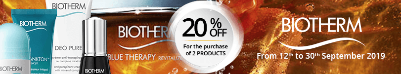For the purchase of 2 Biotherm products = 20% off