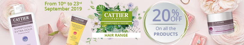 20% off on the whole Cattier Hair range