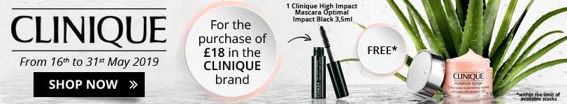 For the purchase of £18 in the Clinique brand = 1 FREE High Impact Mascara Optimal Impact Black 3,5ml