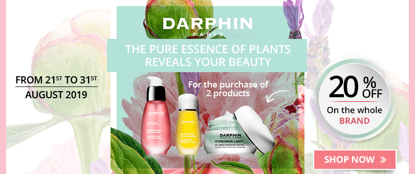 For the purchase of 2 Darphin products = 20% off