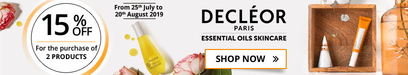 For the purchase of 2 Decléor products = 15% off