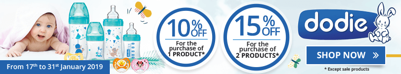 1 Dodie product purchased = 10% off. 2 Dodie products purchased = 15% off