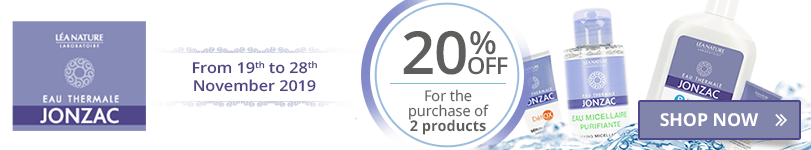 For the purchase of 2 Eau de Jonzac products = 20% off