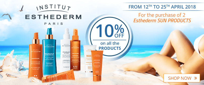 From 2 Institut Esthederm sun products purchased = 10% off