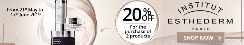 For the purchase of 2 Institut Esthederm products = 20% off