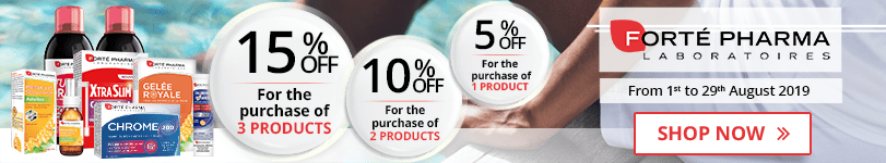 1 Forté Pharma product purchased = 5% off. 2 Forté Pharma products purchased = 10% off. 3 Forté Pharma products purchased = 15% off