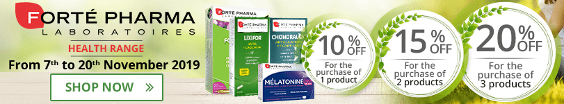 1 Forté Pharma Health product purchased = 10% off. 2 Forté Pharma Health products purchased = 15% off. 3 Forté Pharma Health products purchased = 20% off