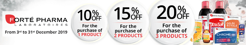 1 Forté Pharma product purchased = 10% off. 2 Forté Pharma products purchased = 15% off. 3 Forté Pharma products purchased = 20% off