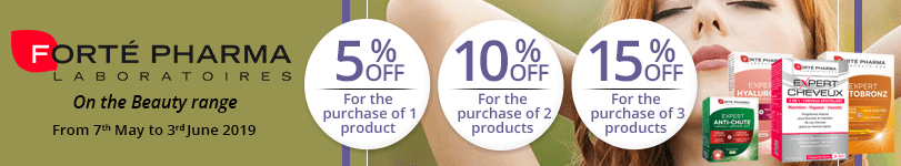 1 Forté Pharma Beauty product purchased = 5% off. 2 Forté Pharma Beauty products purchased = 10% off. 3 Forté Pharma Beauty products purchased = 15% off