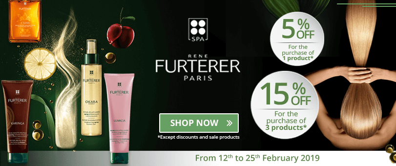 1 Furterer product purchased = 5% off. 3 Furterer products purchased = 15% off