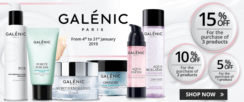 1 Galénic product purchased = 5% off. 2 Galénic products purchased = 10% off. 3 Galénic products purchased = 15% off