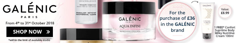 For the purchase of £36 of Galénic products = 1 FREE Galénic Confort Suprême Body Milky Nutritive Cream 100ml