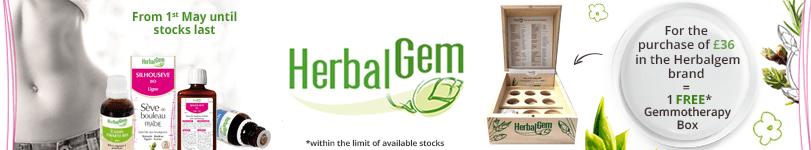 For the purchase of £36 in the Herbalgem brand = 1 FREE Gemmotherapy Box