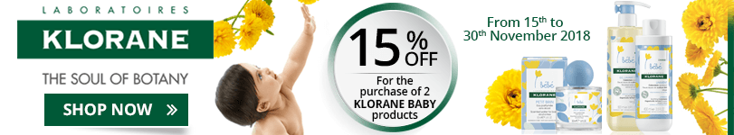 For the purchase of 2 Klorane Baby products = 15% off