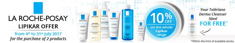 2 products La Roche-Posay Lipikar purchased = 10% off + 1 FREE La Roche-Posay Toleriane Dermo Cleanser 50ml