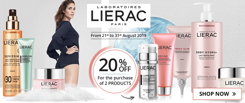For the purchase of 2 Lierac products = 20% off