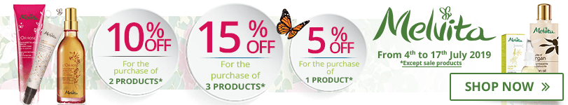 1 Melvita product purchased = 5% off. 2 Melvita products purchased = 10% off. 3 Melvita products purchased = 15% off