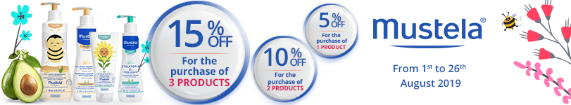 1 Mustela product purchased = 5% off. 2 Mustela products purchased = 10% off. 3 Mustela products purchased = 15% off