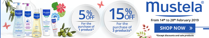 1 Mustela product purchased = 5% off. 3 Mustela products purchased = 15% off