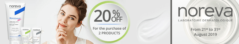 For the purchase of 2 Noreva products = 20% off