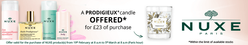 For the purchase of £23 in the Nuxe brand = for FREE: 1 Nuxe Prodigieux Candle 70g