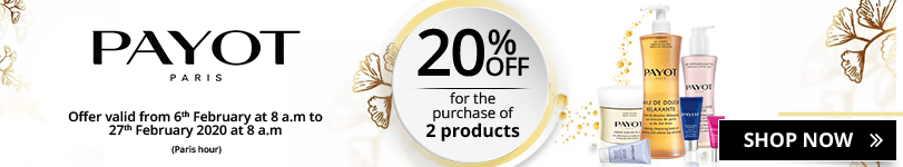 For the purchase of 2 Payot products = 20% off