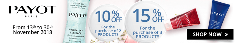 2 Payot products purchased = 10% off. 3 Payot products purchased = 15% off