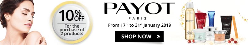 For the purchase of 2 Payot products = 10% off