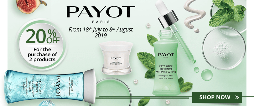 For he purchase of 2 Payot products = 20% off