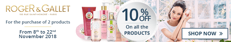 For the purchase of 2 Roger & Gallet products = 10% off