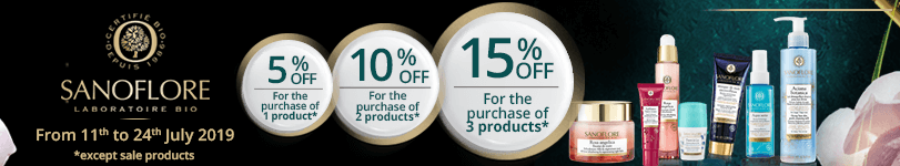 1 Sanoflore product purchased = 5% off. 2 Sanoflore products purchased = 10% off. 3 Sanoflore products purchased = 15% off
