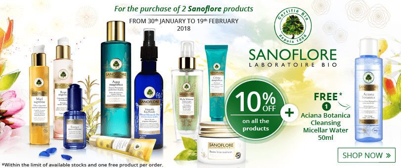 2 products purchased = 10% off + 1 FREE Sanoflore Aciana Botanica Cleansing Micellar Water 50ml