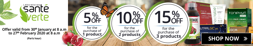 1 Santé Verte product purchased = 5% off. 2 Santé Verte products purchased = 10% off. 3 Santé Verte products purchased = 15% off