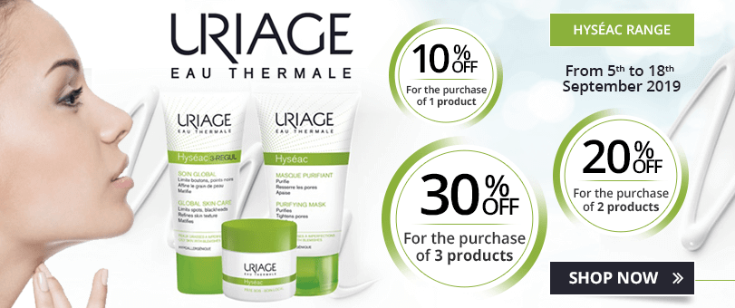 1 Uriage Hyséac product purchased = 10% off. 2 Uriage Hyséac products purchased = 20% off. 3 Uriage Hyséac products purchased = 30% off