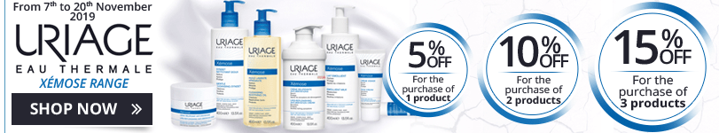 1 Uriage Xémose product purchased = 5% off. 2 Uriage Xémose products purchased = 10% off. 3 Uriage Xémose products purchased = 15% off