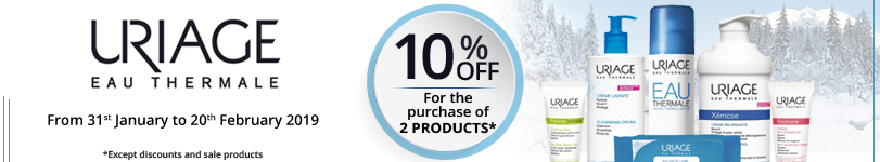 For the purchase of 2 Uriage products = 10% off