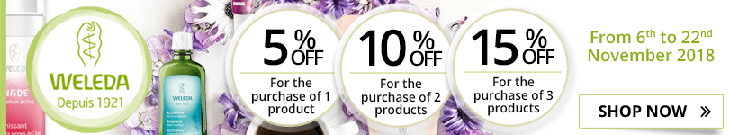 1 Weleda product purchased = 5% off. 2 Weleda products purchased = 10% off. 3 Weleda products purchased = 15% off