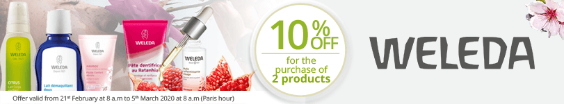 For the purchase of 2 Weleda products = 10% off